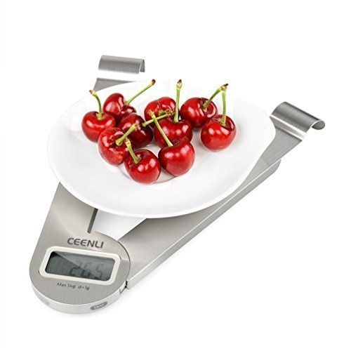 CEENLI Digital Kitchen Folding Scale Multifunction Food Scale, 11 lb 5 kg, Silver, Stainless Steel (1g/0.05oz/1ml)
