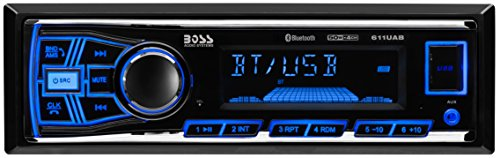 BOSS Audio 611UAB Multimedia Car Stereo - Single Din, Bluetooth Audio and Hands-Free Calling, Built-in Microphone, MP3 Player, USB Port, AUX Input, AM/FM Radio Receiver, (No CD/DVD Player)