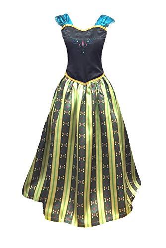 Adult Women Princess Elsa Anna Coronation Dress Costume (L Large, Olive Green)