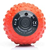 SUVIUS Ball Electric Vibrating Foam Roller - 4 Intensity Levels for Firm Battery-Powered Deep Tissue Recovery, Training, Massage - Therapeutic Back and Muscle Massage Roller (Red)