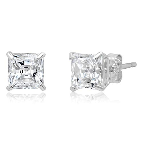 14k Solid White Gold PRINCESS Stud Earrings with Genuine Swarovski Zirconia   2.0 CT.TW.   With Gift Box