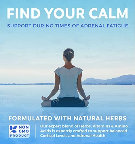 Adrenal Support & Cortisol Manager (Non-GMO) Powerful Adrenal Health with L-Tyrosine & Ashwagandha - Maintain Balanced Cortisol Levels & Stress Relief - Fatigue Supplement - 60 Capsules 2