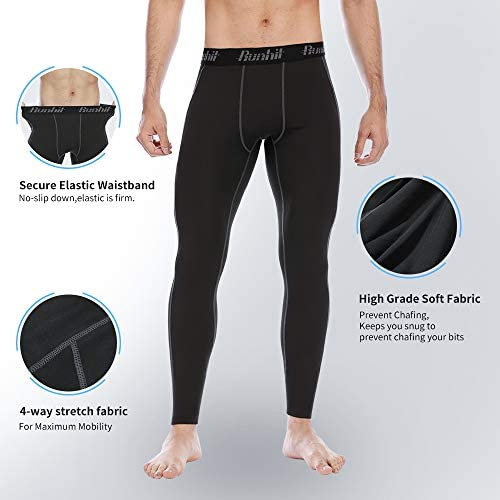 Runhit Compression Pants Men(2 Pack),Spandex Athletic Leggings with Pockets Running Workout Tights Shorts Base Layer 6