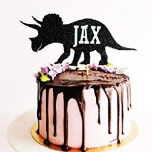 Personalised Dinosaur Name Glitter Card Cake Topper – boys birthday party, baby shower, christening, birthday 41JWBD2as2L