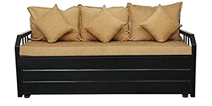 Royal Interiors King Size Three Seater Sofa Cum Bed With Hydraulic Storage Light Brown Matte Finish Black Amazon In Home Kitchen