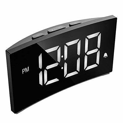 PICTEK Digital Alarm Clock, 5' Curved Dimmable LED Screen Digital Clock for Kids Bedroom, White Large Number Clock, 6 Brightness, Snooze, 12/24 Hour, USB Port(Without Adapter)