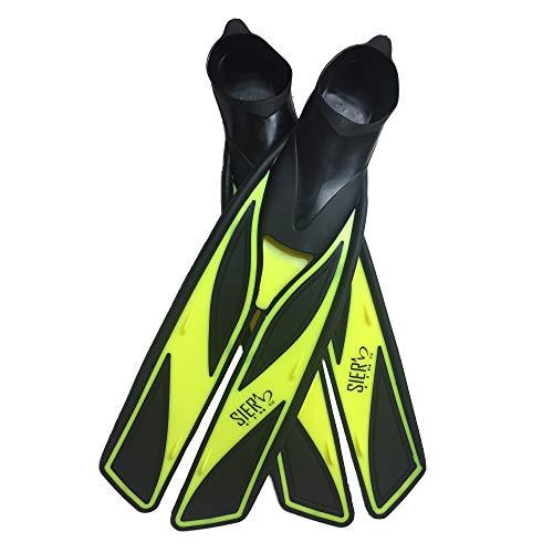 Split Snorkel Fins, Full Foot Diving Fins and Scuba Flippers Fins, Includes Mesh Bag (Yellow, XL EUR 45-46 US Men 10.5-11.5 Women 11.5-12.5)