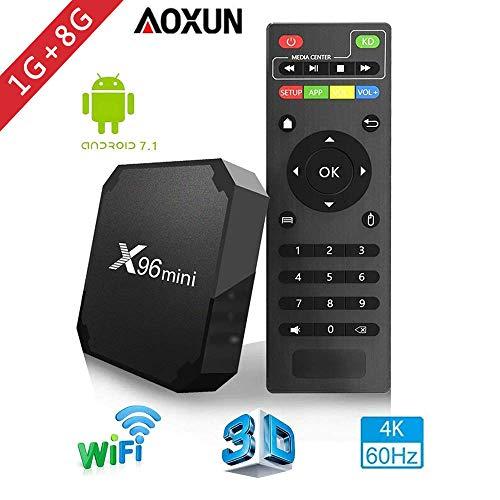 Aoxun 2018 Android TV Box - Smart TV Box Quad Core X96 Mini Android 7.1 OS Amlogic S905W 3D/4K/HD Media Player 1GB 8GB/WiFi 2.4G X96 Mini TV Box