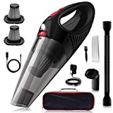 Kimitech Handheld Vacuum Cleaner,Comes with car USB charging cable,with LED Light, Stainless Steel HEPA Filter,120W 6.5 kpa Portable Cordless car vacuum for Home and Car Cleaning