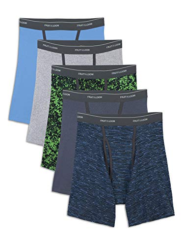 Fruit of the Loom Men's No Ride Up Boxer Brief, Assorted Ringer (5-Pack), X-Large