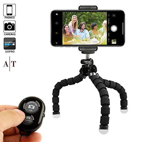 Phone Tripod, Portable and Adjustable Camera Stand Holder with Bluetooth Remote and Universal Clip for Any Smartphone, Cellphone, Phone, Android, Camera, GoPro (8' Black)