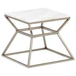 Amazon Brand – Rivet Modern Hourglass White Marble Top and Metal Side End Table Nightstand, 17.9″W, Silver Finish