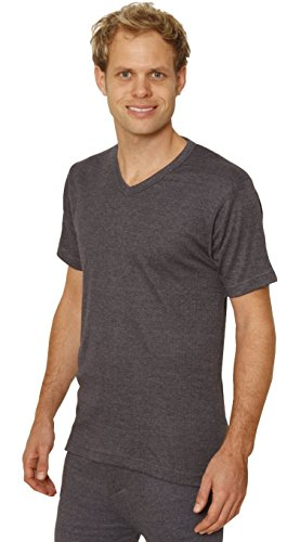 Octave 2 Pack Mens Thermal Underwear Short Sleeve 'V'-Neck T-Shirt/Vest/Top (Ex-Ex-Large: Chest 48-50 inches, Charcoal)