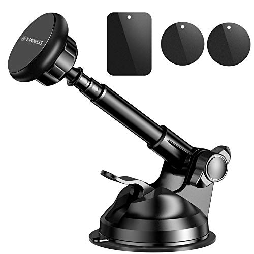 VANMASS Magnetic Phone Car Mount, Universal Phone Holder for Car Dashboard and Windshield, 360° Rotation with 6 Strong Magnets and Metal Telescopic Arm, Compatible with 3.5'-7' Phone