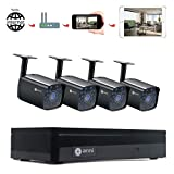 Anni 4CH DVR 1080N Video Security System 4PCS 1500TVL Weatherproof Outdoor Cameras Surveillance Kit, Free iOS Android APP, Motion Detection Email Alert, IR Night Vision 65FT -No Hard Drive