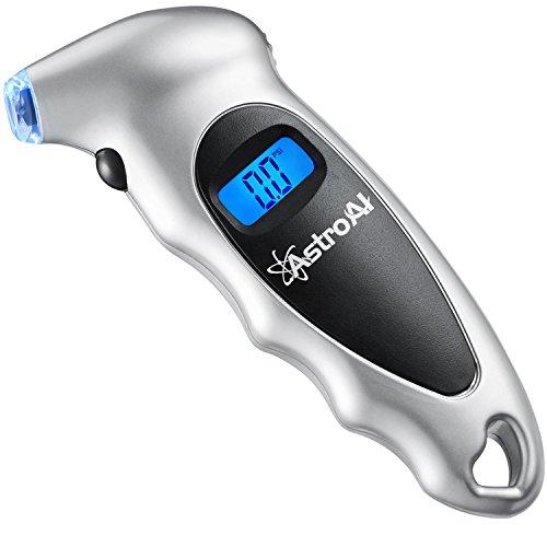 AstroAI Digital Tire Pressure Gauge 150 PSI 4 Settings Car Truck Bicycle Backlit LCD Non-Slip Grip, Silver (1 Pack)