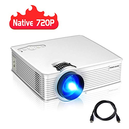 PONER SAUND Upgraded Version GP9S Mini Projector, Native 720P Home Theater Projector with Upgraded Brightness, Resolution. Built-in Speaker and 50,000 Hrs Lamp Life Projector for Movies, Office, Games