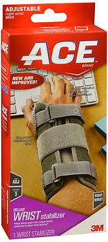 Ace Brand Deluxe Wrist Brace, One Size, Right Hand, 205278-sioc, Gray, Adjustable