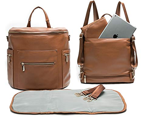 Leather Diaper Bag Backpack by Miss Fong, Diaper Bag with Changing Pad, Diaper Bag Organizer,Stroller Straps and Insulated Pockets (Brown- New Convertible)