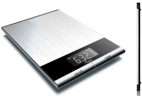 Ozeri Ultra Thin Professional Digital Kitchen Food Scale, in Elegant Stainless Steel