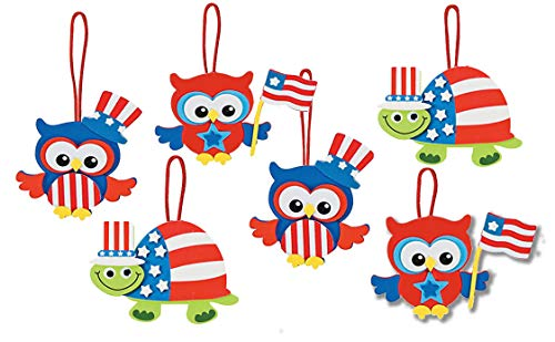 July 4th Patriotic Owl and Turtle Self Adhesive Foam Craft Kits for Kids 3-12 (6 Kits)