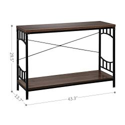 """Bonnlo Vintage Console Table Wood and Metal Frame Entryway 