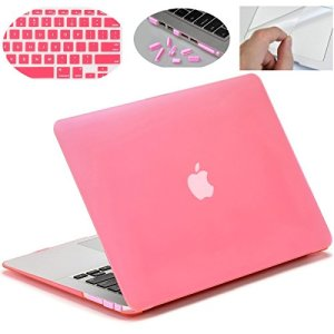 MOCA Smooth Touch Matte Hard Shell Skin Cover Case for 13 to 13.3″ Laptop with 3 MacBook Saviour Accessories (Pink)