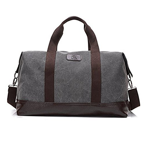 Travel Duffle Bag Canvas Leather Gym Weekend Bag (Grey)