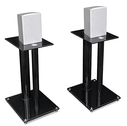 Mount-It! Speaker Stands for Book Shelf and Surround Sound Speakers, Universal Fit, Premium Dual Pillar Aluminum and Tempered Glass, Black (MI-28)