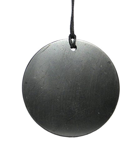 Karelia Shungite Pendant. EMF Protection Stone. Genuine Shungite and Highest Quality Guarantee. … (Circle Big)
