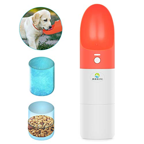 Makife Dog Water Bottle 2-in-1 Portable Pet Water Bowl with Food Container Leakproof Food Grade Silicone for Pets Outdoor Walking Running Hiking - 15pcs Dog Waste Bags 1