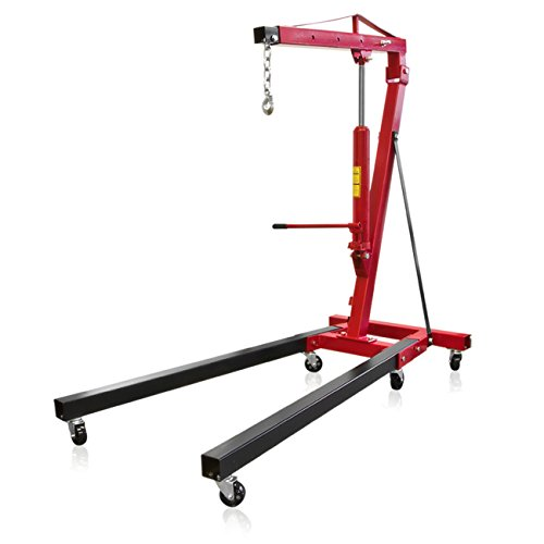 Best Choice Products 2-Ton Folding Engine Hoist Crane for Automobile, Car Shop w/ 8in Chain, 5/8 Clevis Slip Hook - Red