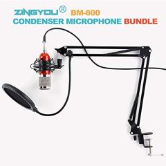 ZINGYOU-Condenser-Microphone-Bundle-BM-800-PC-Microphone-Professional-Cardioid-Studio-Mic-Set-with-Mic-Suspension-Scissor-Arm-Shock-Mount-and-Pop-Filter-for-Studio-Recording-Broadcasting-Aurora-R