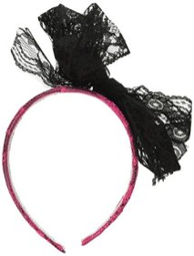 Forum-Novelties-80s-Neon-Lace-Headband-with-Bow-Pink