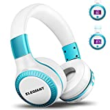 Bluetooth Headphones, ELEGIANT On Ear Bluetooth Headset Foldable with Mic FM Radio Micro SD Card Slot Wired and Bluetooth Headphones for iPhone X 8 7 6S 6/Android Phones/i Pad/Laptop/PC White & Blu