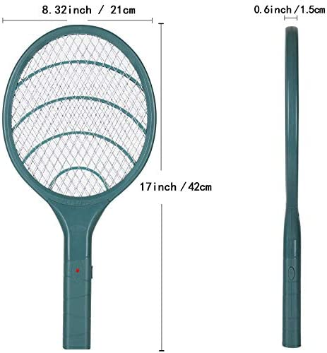 Electric Fly Swatter Bug Zapper Racket, 3000volt Mosquito Fly Gnat Zapper Pest Control for Home Indoor Outdoor (Green)