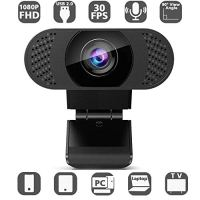 Huryfox 1080P HD Webcam with Microphone, Wide Angle Web Camera with 1/4 Screw Interface Web Camera with USB 2.0 for…