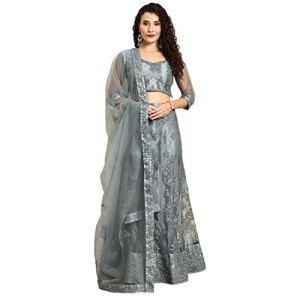 Aarrah Net Embroidered Semi Stitched Lehenga Choli With Dupatta[AKHAND_295GREYLH_Grey]