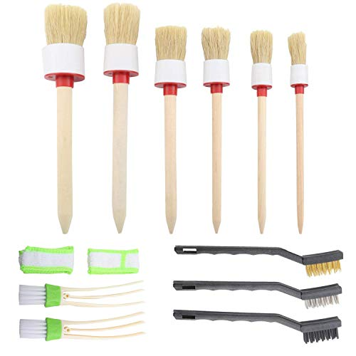 SUBANG 11 Pieces Car Cleaner Brush Set Including Natural Boar Hair Detail Brush (Set of 6), Auto Detailing Brush for Cleaning Wheels, Interior, Exterior, Leather and 2 pcs Automotive Air Conditioner