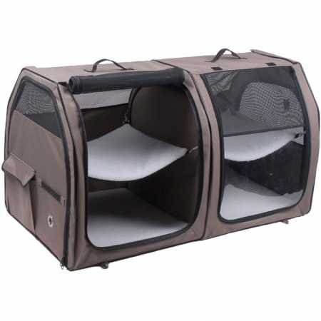 One for Pets Double Cat Show House/Portable Dog Kennel/Shelter, Tan 24″x24″x42″ - Car Seat-Belt Fixture Included