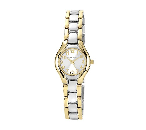 41KDJaemZXL Two-tone dress watch featuring easy-to-read dial with Arabic hour markers and date window at 6 o'clock position 24 mm two-tone stainless steel case with mineral dial window Quartz movement with analog display