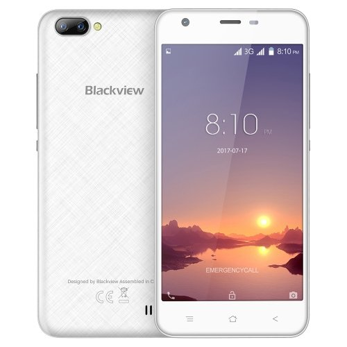 New Blackview A7 PRO Dual Rear Cameras Smartphone 5.0 inch HD MTK6737 Quad Core Android 7.0 2GB RAM 16GB ROM 5MP Cam 2800mAh Battery (White)