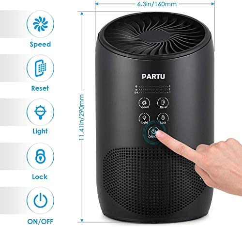 PARTU HEPA Air Purifier - Smoke Air Purifiers for Home with Fragrance Sponge - 100% Ozone Free, Lock Set, Eliminates Smoke, Dust, Pollen, Pet Dander, (Available for California) 17