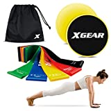 XGEAR Core Sliders & Exercise Resistance Bands-Gliding Discs & Mini Loop Bands, Fitness Set for Home Intense, Low-Impact Exercises to Strengthen Core, Glutes Abs