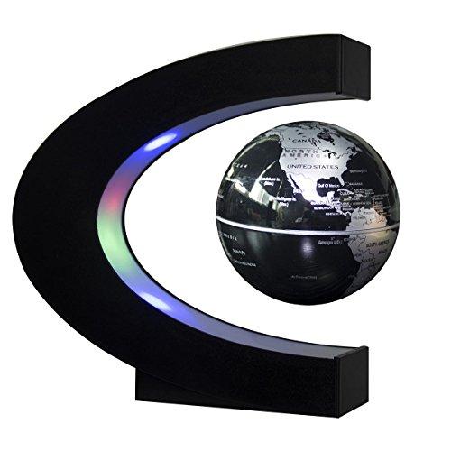 Estefanlo Floating Globe with LED Lights C Shape Magnetic Levitation Floating Globe World Map for Desk Decoration (Black-Silver)
