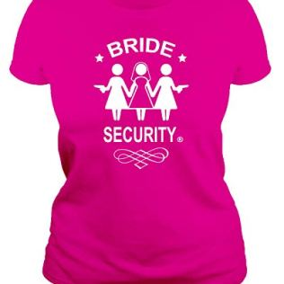 IDEAMAGLIETTA-T-Shirt-pour-Enterrement-de-Vie-de-Jeune-Fille-Bride-Security-Marie-T-Shirt-ide-Cadeau-Amusante-Rose-Medium