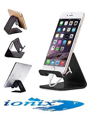 Generic Metal Mobile Phone Stand, Ionix Mobile Phone Metal Stand/Holder for Smartphones and Tablet, Mobile Stand for Bed, Mobile Stand for Table, (Silver/Black - Depending on Availability) 161