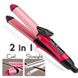 Forcado 2-in-1 Ceramic Plate Essential Combo Beauty Set of Hair Straightener and Plus Curler hair curler for women, hair straightner for women, hair straightener and curler
