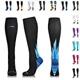 NEWZILL Compression Socks (20-30mmHg) for Men & Women - Best Stockings for Running, Medical, Athletic, Edema, Diabetic, Varicose Veins, Travel, Pregnancy, Shin Splints. (i-Ice, Medium)