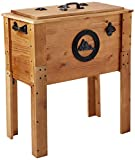 BACKYARD EXPRESSIONS PATIO · HOME · GARDEN 905469 45 Quart Rustic Wooden Outdoor Cooler Easiest Patio Ice Chest to Drain and Clean, Brown